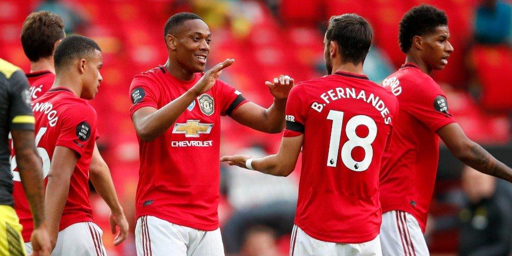 Selebrasi pemain Manchester United kala berjumpa Southampton