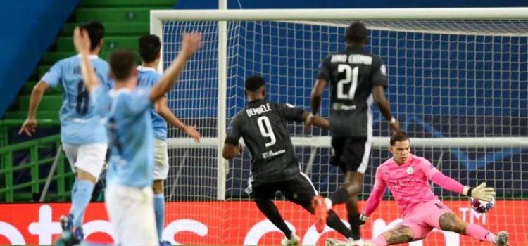 Goal Dembele ke gawang Ederson Moraes (Manchester City)