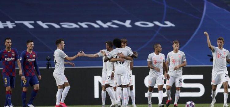 Selebrasi pemain Bayern Munchen kala mencetak goal ke gawang Barcelona (15 Agustus 2020)