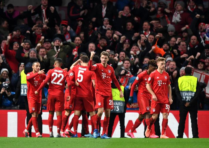 Selebrasi skuad Bayern Munchen kala bertandang ke Stamford Bridge